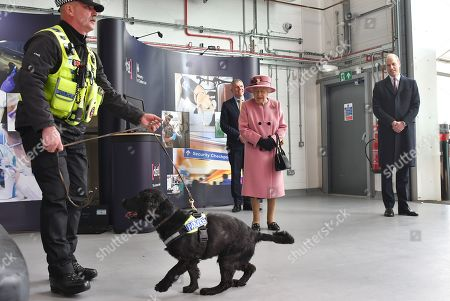 Queen Elizabeth II (C) and Prince William (R) view a demonstration of a Forensic Explosives Investigation with explosives detection dog named 'Max' at the Energetics Analysis Centre as they visit the Defence Science and Technology Laboratory (Dstl) at Porton Down science park near Salisbury, southern England, on October 15, 2020.