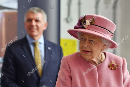 Britain's Queen Elizabeth II visits the Defence Science and Technology Laboratory (Dstl) at Porton Down science park near Salisbury, southern England