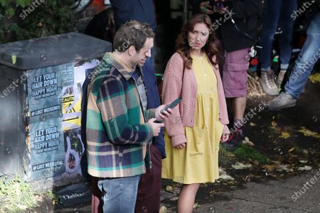 Rafe Spall, Esther Smith and Oliver Chris filming for Apple TV show 'Trying'.