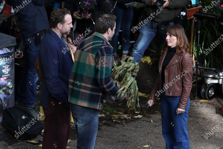 Rafe Spall, Ophelia Lovibond and Oliver Chris filming for Apple TV show 'Trying'.