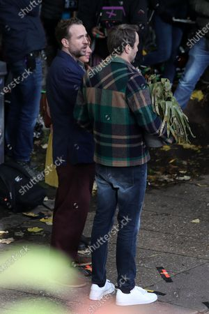 Rafe Spall and Oliver Chris filming for Apple TV show 'Trying'.