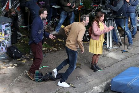 Stock Image of Rafe Spall, Esther Smith and Oliver Chris filming for Apple TV show 'Trying'.