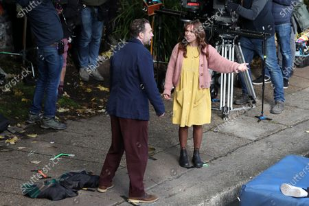 Rafe Spall, Esther Smith filming for Apple TV show 'Trying'.