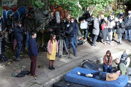 Rafe Spall, Esther Smith, Ophelia Lovibond and Oliver Chris filming for Apple TV show 'Trying'.