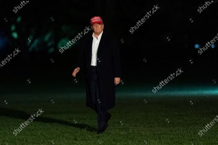 United States President Donald J. Trump returns to the White House in Washington, DC after attending a political event in Des Moines, Iowa.