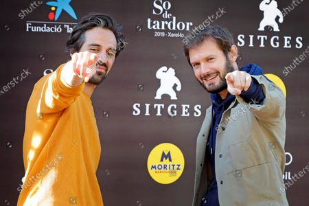 French film director Romain Quirot (L) and actor and cast member Hugo Becker (R) pose for the photographer during the photocall of the film 'Le dernier voyage de Paul W.R' at the 53rd Sitges International Fantastic Film Festival of Catalonia, in Sitges, Spain, 15 October 2020. The festival runs from 08 October to 18 October 2020.
