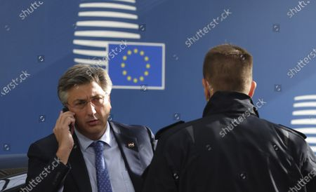 Croatia's Prime Minister Andrej Plenkovic arrives for a two-days face-to-face European Council summit, in Brussels, Belgium, 15 October 2020. EU countries leaders are meeting in person for a two-day summit expected to focus mainly on EU-UK negotiations following Brexit, climate ambition and EU Budget.