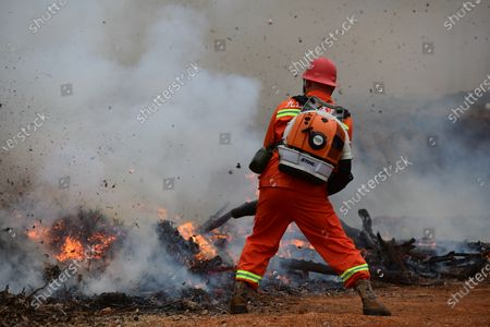 A forest fire extinguishing drill was held