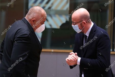 European Council President Charles Michel (R) and Bulgaria's Prime Minister Boyko Borissov at the round table during a two-days face-to-face European Council summit, in Brussels, Belgium, 15 October 2020. EU countries leaders are meeting in person for a two-day summit expected to focus mainly on EU-UK negotiations following Brexit, climate ambition and EU Budget.
