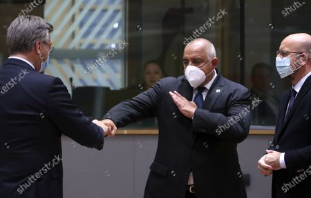 (R-L) European Council President Charles Michel, Bulgaria's Prime Minister Boyko Borissov and Croatia's Prime Minister Andrej Plenkovic at the round table during a two-days face-to-face European Council summit, in Brussels, Belgium, 15 October 2020. EU countries leaders are meeting in person for a two-day summit expected to focus mainly on EU-UK negotiations following Brexit, climate ambition and EU Budget.
