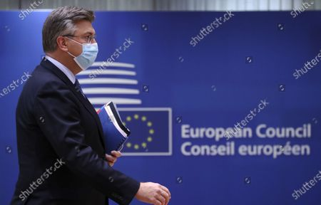 Croatia's Prime Minister Andrej Plenkovic attends at the round table during a two-days face-to-face European Council summit, in Brussels, Belgium, 15 October 2020. EU countries leaders are meeting in person for a two-day summit expected to focus mainly on EU-UK negotiations following Brexit, climate ambition and EU Budget.