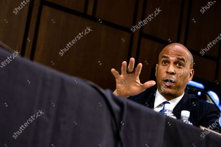 Stock Picture of Senator Corey Booker (D-NJ) makes a statement during the fourth day of the Supreme Court confirmation hearing for nominee Judge Amy Coney Barrett before the Senate Judiciary Committee on Capitol Hill in Washington, DC, USA, on 15 October 2020. With less than a month until the presidential election, President Donald Trump tapped Amy Coney Barrett to be his third Supreme Court nominee in just four years. If confirmed, Barrett would replace the late Associate Justice Ruth Bader Ginsburg.