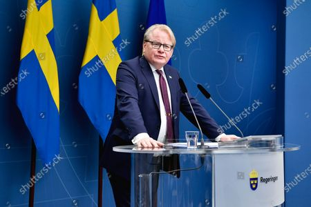 Sweden's Minister of Defence Peter Hultqvist speaks during a news conference presenting a new government bill on the country's total defence.