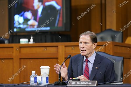United States Senator Richard Blumenthal (Democrat of Connecticut), speaks before the Senate Judiciary Committee during the confirmation hearing for Supreme Court nominee Amy Coney Barrett,, on Capitol Hill in Washington.