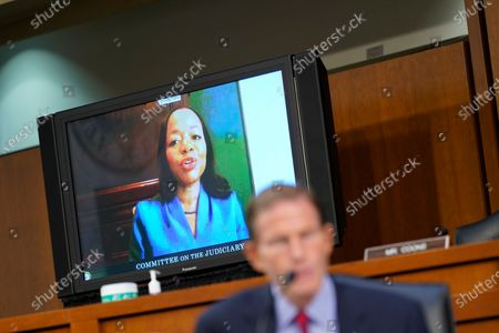 Kristen Clarke testifies during the confirmation hearing of United States Supreme Court nominee Amy Coney Barrett before the Senate Judiciary Committee on Capitol Hill in Washington,, as US Senator Richard Blumenthal (Democrat of Connecticut).