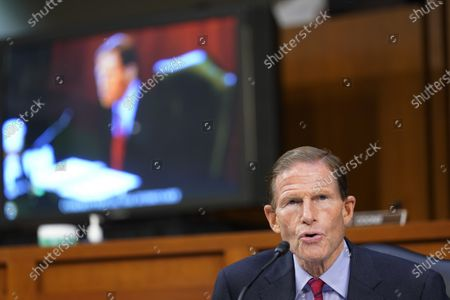 United States Senator Richard Blumenthal (Democrat of Connecticut), speaks as the Senate Judiciary Committee hears from legal experts on the final day of the confirmation hearing for Supreme Court nominee Amy Coney Barrett, on Capitol Hill in Washington,.