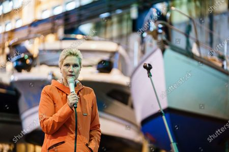Mecklenburg-Western Pomerania State Premier Manuela Schwesig gives a press statement in a boat house of the industrial port during a visit to the industrial port and the landfall facility of the joint German-Russian pipeline project Nord Stream 2, in Lubmin, Germany, 15 October 2020. The politically controversial pipeline project was put into question in response to the alleged poisoning of Kreml critic Alexei Navalny. Schwesig wants to save the gas pipeline that she regards an important infrastructure project.