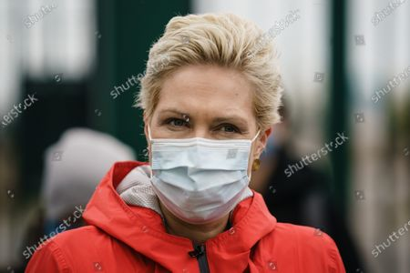 Mecklenburg-Western Pomerania State Premier Manuela Schwesig wears a face mask during a visit to the industrial port and the landfall facility of the joint German-Russian pipeline project Nord Stream 2, in Lubmin, Germany, 15 October 2020. The politically controversial pipeline project was put into question in response to the alleged poisoning of Kreml critic Alexei Navalny. Schwesig wants to save the gas pipeline that she regards an important infrastructure project.