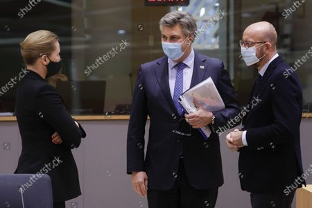 Denmark Prime Minister Mette Frederiksen, Prime Minister of Croatia Andrej Plenkovic and European Council President Charles Michel pictured during the first day of the EU summit meeting to discuss the Brexit progress