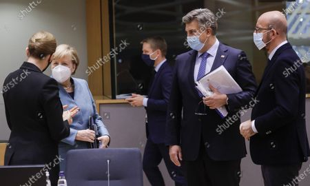 Denmark Prime Minister Mette Frederiksen, Chancellor of Germany Angela Merkel, Prime Minister of Croatia Andrej Plenkovic and European Council President Charles Michel pictured during the first day of the EU summit meeting to discuss the Brexit progress