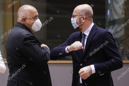 Prime Minister of Bulgaria Boyko Borisov and European Council President Charles Michel pictured during the first day of the EU summit meeting to discuss the Brexit progress