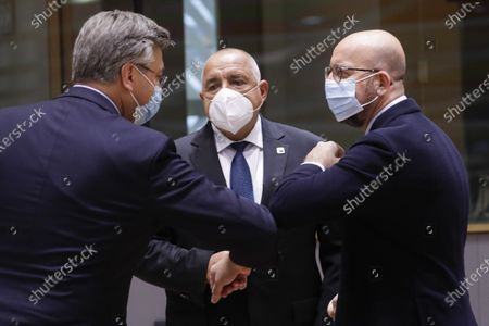 Prime Minister of Croatia Andrej Plenkovic, Prime Minister of Bulgaria Boyko Borisov and European Council President Charles Michel pictured during the first day of the EU summit meeting to discuss the Brexit progress