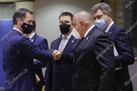 Prime Minister Alexander De Croo, Estonia Prime Minister Juri Ratas, Prime Minister of Bulgaria Boyko Borisov and Prime Minister of Croatia Andrej Plenkovic pictured during the first day of the EU summit meeting to discuss the Brexit progress
