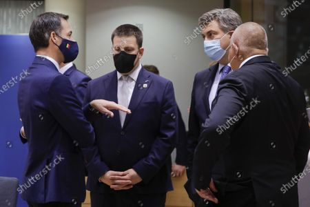 Prime Minister Alexander De Croo, Estonia Prime Minister Juri Ratas, Prime Minister of Croatia Andrej Plenkovic and Prime Minister of Bulgaria Boyko Borisov pictured during the first day of the EU summit meeting to discuss the Brexit progress