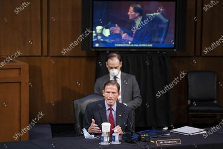 United States Senator Richard Blumenthal (Democrat of Connecticut)speaks during the confirmation of Amy Coney Barrett, U.S. President Donald Trump's nominee for associate justice of the U.S. Supreme Court, during a Senate Judiciary Committee hearing on Capitol Hill in Washington, D.C., U.S.,.