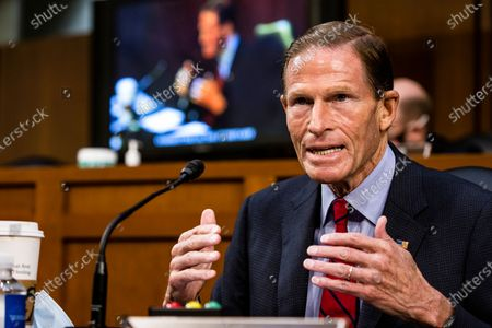 United States Senator Richard Blumenthal (Democrat of Connecticut) makes a statement before the Senate Judiciary Committee on the fourth day of Supreme Court nominee Judge Amy Coney Barrett's confirmation hearing on Capitol Hill in Washington, DC. Barrett was nominated by President Donald Trump to fill the vacancy left by Justice Ruth Bader Ginsburg who passed away in September.