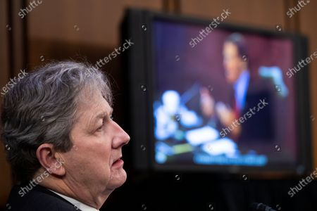 Republican Senator from Louisiana John Kennedy listens as Democratic Senator from Connecticut Richard Blumenthal delivers remarks during the fourth day of Senate Judiciary Committee confirmation hearings for Judge Barrett on Capitol Hill in Washington, DC, USA, 15 October 2020. The hearings are expected to last four days.