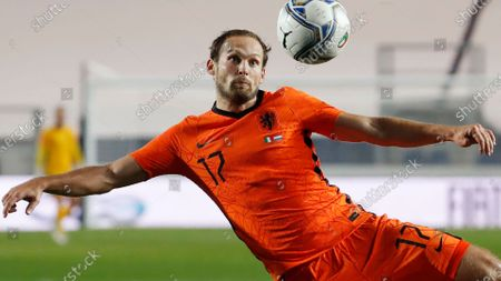 Stock Picture of Netherlands' Daley Blind kicks the ball during the UEFA Nations League soccer match between Italy and Netherlands at Azzurri d'Italia stadium in Bergamo, Italy