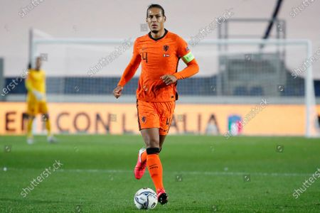 Netherlands' Virgil Van Dijk controls the ball during the UEFA Nations League soccer match between Italy and Netherlands at Azzurri d'Italia stadium in Bergamo, Italy