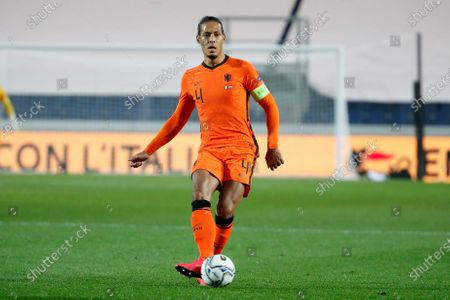 Netherlands' Virgil Van Dijk kicks the ball during the UEFA Nations League soccer match between Italy and Netherlands at Azzurri d'Italia stadium in Bergamo, Italy