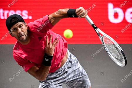 Fernando Verdasco of Spain in action during his round of 16 match against Alexander Zverev of Germany at the bett1HULKS Indoors tennis tournament in Cologne, Germany, 15 October 2020.