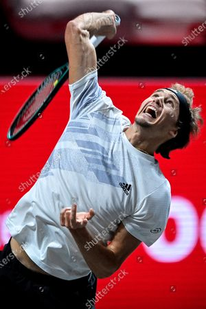 Alexander Zverev of Germany in action during his round of 16 match against Fernando Verdasco of Spain at the bett1HULKS Indoors tennis tournament in Cologne, Germany, 15 October 2020.