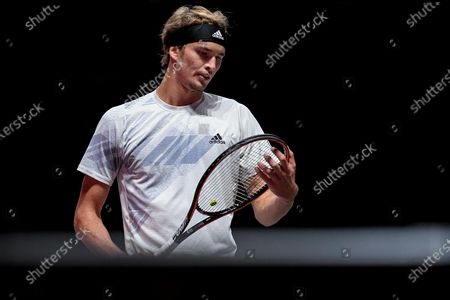 Alexander Zverev of Germany reacts during his round of 16 match against Fernando Verdasco of Spain at the bett1HULKS Indoors tennis tournament in Cologne, Germany, 15 October 2020.
