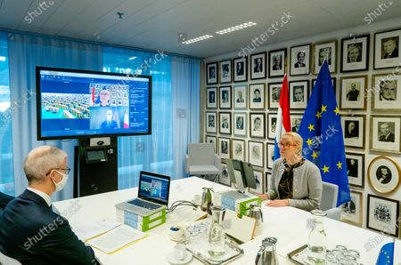 Dutch Minister Sigrid Kaag (R) of Foreign Trade and Development Cooperation and her French colleague Franck Riester (L) during a video call with the International Trade Committee of the European Parliament about current and international trade matters in The Hague, The Netherlands, 15 October 2020.