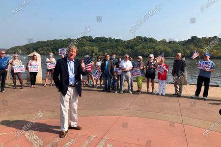 Republican U.S. Senate candidate Jason Lewis addresses supporters in Stillwater, Minn.,, at a get out the vote rally on the banks of the St. Croix River. Lewis, a one-term former congressman and former talk radio host, is challenging Democratic U.S. Sen. Tina Smith