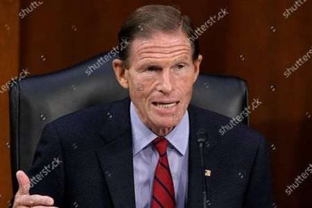 Sen. Richard Blumenthal, D-Conn., speaks as the Senate Judiciary Committee hears from legal experts on the final day of the confirmation hearing for Supreme Court nominee Amy Coney Barrett, on Capitol Hill in Washington