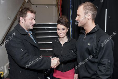 Behind the scenes, Mikey Graham with Tana Ramsay and Stuart Widdall.