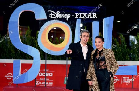 Pierfrancesco Diliberto alias Pif (L) and his partner arrive for the screening of 'Soul' at the 15th annual Rome International Film Festival, in Rome, Italy, 15 October 2020. The film festival runs from 15 to 25 October.