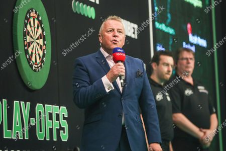 MC John McDonald during the Unibet Premier League Play-Offs at the Ricoh Arena, Coventry