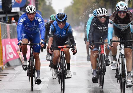 Italian rider Domenico Pozzovivo (2-L) of Ntt Pro Cycling team  and Italian rider Vincenzo Nibali (3-L) of  Trek Segafredo team after crossing the finish line of the 12th stage of the 2020 Giro d'Italia cycling race over 204km from Cesenatico to Cesenatico, Italy, 15 October 2020.