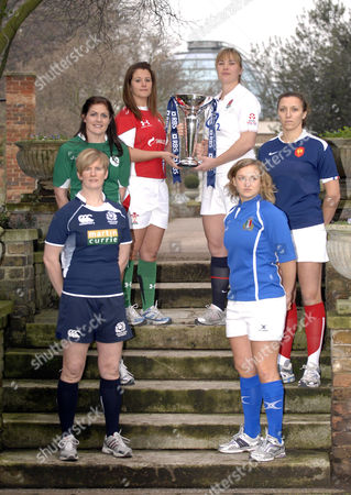 RBS Six Nations Women's rugby players with the Six Nations trophy - Lynn Reid (Scotland), Fiona Coughlan (Ireland), Catriona Nicholas (Wales), Catherine Spencer (England), Paola Zangirolami (Italy), and Sandra Rabier (France)