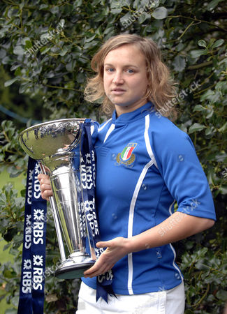 Italian Women's rugby player Paola Zangirolami with the Six Nations Trophy