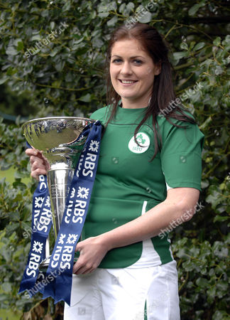 Irish Women's rugby player Fiona Coughlan with the Six Nations trophy