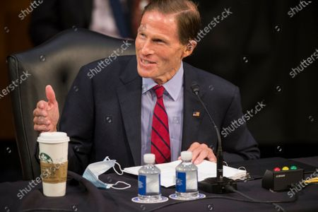 United States Senator Richard Blumenthal (Democrat of Connecticut) questions the panel of witnesses during the third panel of testimony from outside witnesses about the nomination of Supreme Court Justice nominee Amy Coney Barrett on the fourth day of Senate confirmation hearings in the Hart Senate Office Building on Capitol Hill in Washington, DC,.