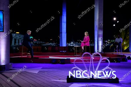 President Donald Trump speaks during an NBC News Town Hall with moderator Savannah Guthrie, at Perez Art Museum Miami, in Miami