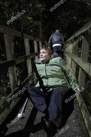 Aaron Livesy [Danny Miller] Vents His Anger on the Footbridge Has Lizzie Lakely [Kitty Mcgeever] Tries to Cross He Pushes Her to the Ground and Runs Away.  Lizzie is Left Very Shaken.